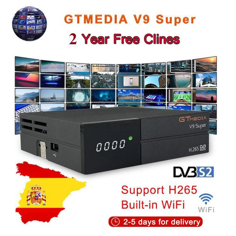 Récepteur Satellite GT media V9 Super DVB-S2 H2.65 FREESAT V9 SUPER récepteur de télévision par Satellite HD 1080P avec 2 ans 6 lignes