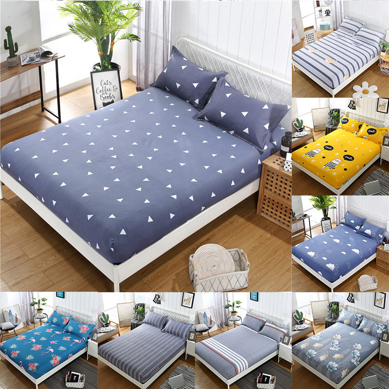 1PC Antiskid 2019 New Mattress Protector Mattress Cover Printing Bed Cover Fitted Sheet Waterproof Popular Elastic Pad