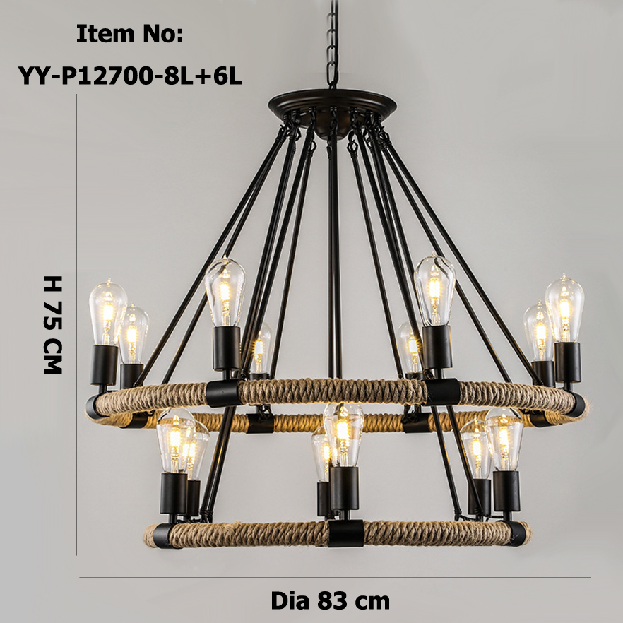 Us 117 11 30 Off American Village Retro Rope Chandelier Creative Past Rustic Country Style Restaurant Bar Restoration Hardware Lighting In