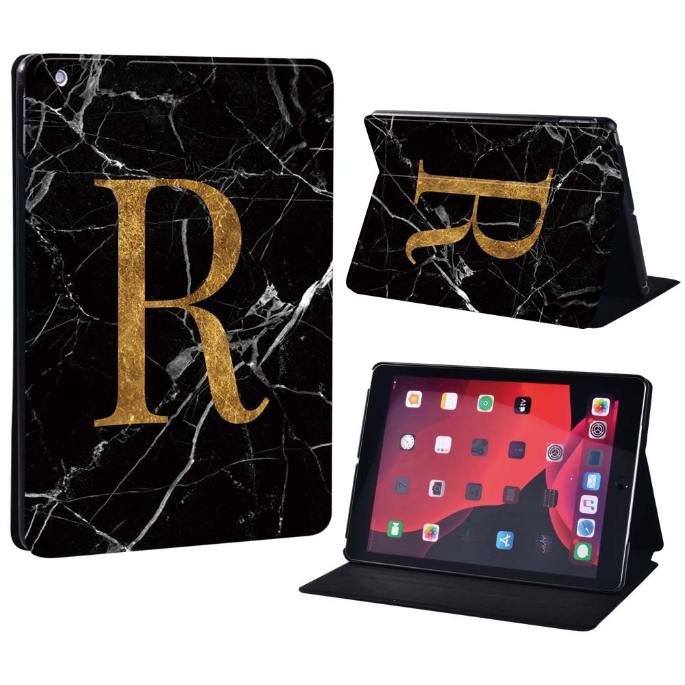 letter R on black Champagne For Apple iPad 8 10 2 2020 8th 8 Generation A2428 A2429 Printing initia letters PU