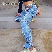 TWOTWINSTYLE-pantalones de pierna ancha con lazo de Color para mujer, calados, de cintura alta, con cordones, ropa de calle, vaqueros para mujer, novedad de verano 2020