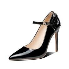 BLXQPYT seksi iki yolu giymek büyük 33 50 yüksek kaliteli kadın pompaları sivri burun ince yüksek Heels12cm düğün parti ayakkabıları YM 20
