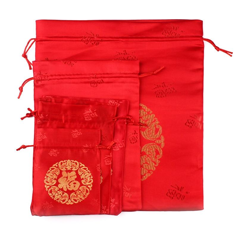 100pcs/lot 9x12cm, 13x18cm, 16x19cm, 17x22cm Red Drawstring Satin Silk Pouches Wholesale Christmas Gift Jewelry Packaging Bags