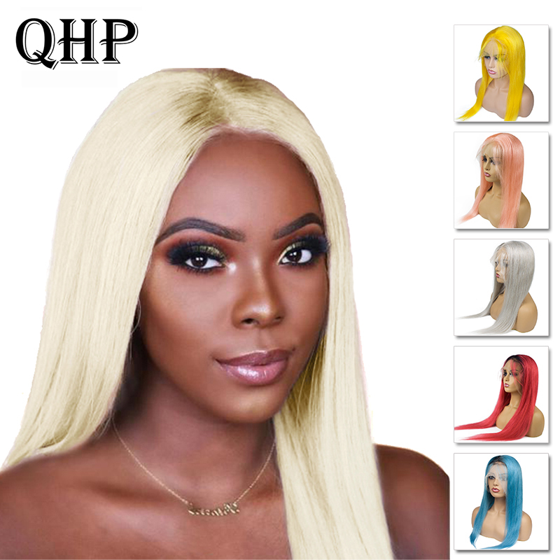 Brazilian Remy Straight Hair Color Full Lace Human Hair Wigs With Baby Hair 14