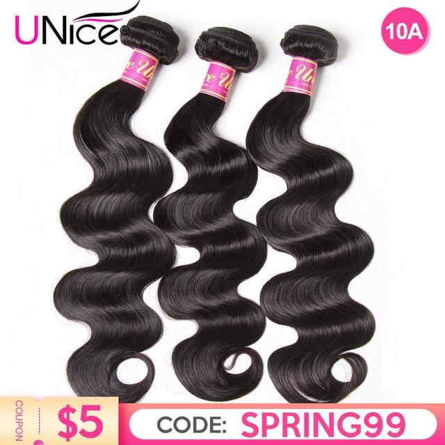 $ US $16.25 UNICE HAIR Brazilian Body Wave Hair Weave Bundles Natural Color 100% Human Hair weave 1/3/4 Piece 8-30