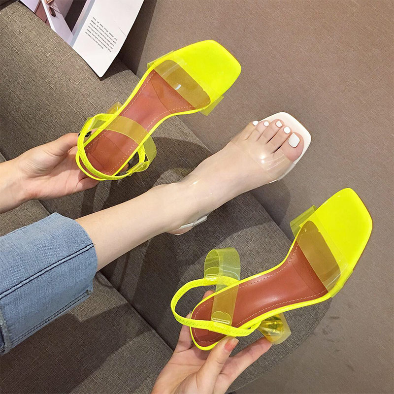 Summer Women Crystal Open Toe Jelly Sandals Ladies Elastic Band Sike High Heels Female Transparent Pumps Fashion Shoes 1