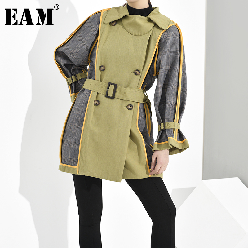 [EAM] Women Plaid Split Temperament Trench New Lapel Long Sleeve Loose Fit Windbreaker Fashion Tide Spring Autumn 2020 1H847009