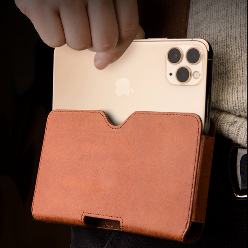 Image 3 - For iPhone 11 Pro Max Genuine Leather Phone Pouch Belt Clip  Leather Bag Cover Waist Case Pouch Cases For iPhone XS MAX XR  CasesWallet Cases