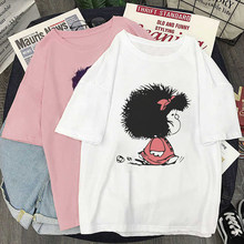 Mulher tshirts mafalda cartoon impressão gráfica camiseta feminina harajuku estético branco topo tshirt coréia moda casual feminino tshirt