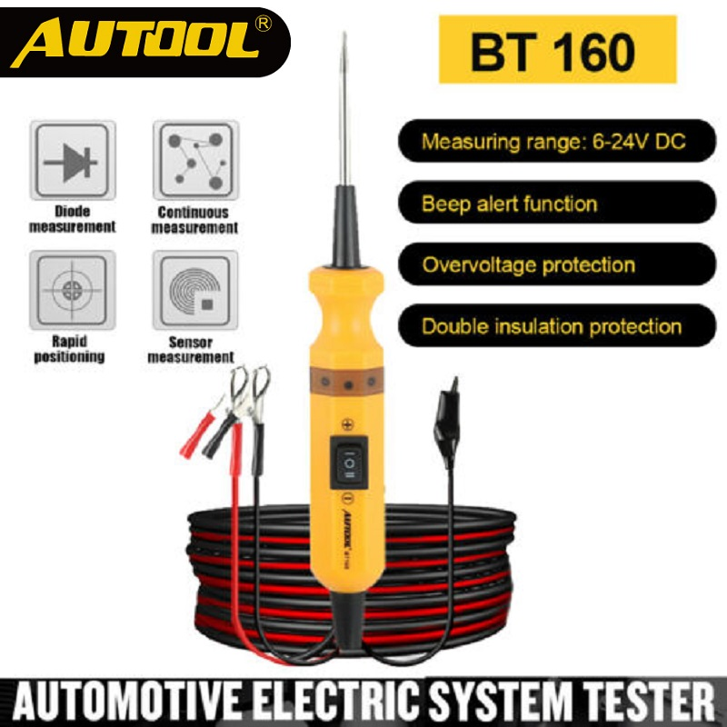 AUTOOL BT160 Car Circuit Tester Power Probe Car Diagnostic Tool Electric Voltage Integrated Scanner For 12V Car 24V Heavy Truck