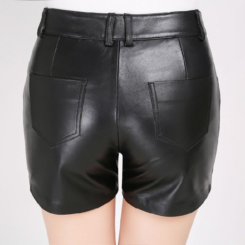 Fashion New Women Sheepskin Genuine Leather Shorts Top Quality Zipper Fly Back Pockets Button Waist Straight Female Modis Shorts