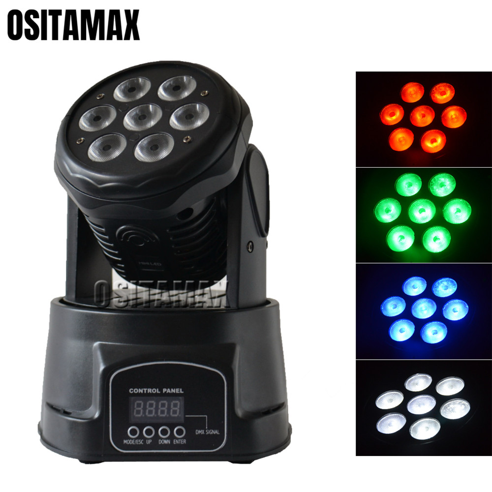 Mini LED Wash Moving Head Light 7x10w RGBW 4IN1 High Brightness Color Mixing Sound Stage Lighting Disco DJ Wedding Party Lights