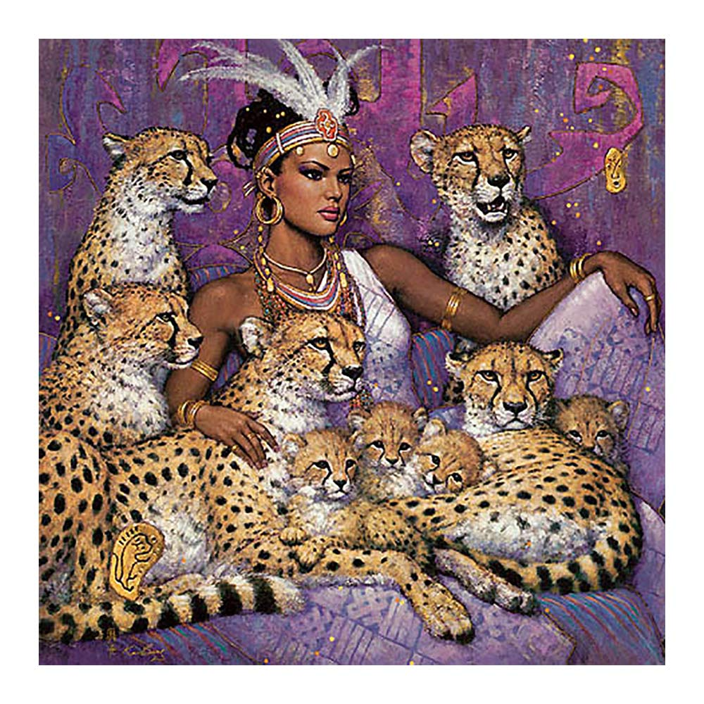 beauty beast Moge Diamond Painting Full Round leopard animal portrait New DIY sticking drill cross embroidery 5D ethnic customs in Diamond Painting Cross Stitch from Home Garden