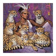 beauty beast Moge Diamond Painting Full Round leopard animal portrait New DIY sticking drill cross embroidery 5D ethnic customs