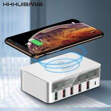 Qi carregador sem fio qc3.0 usb tipo c carregador led do telefone móvel carregador rápido para o iphone samsung s10 usb adaptador estação de carregamento