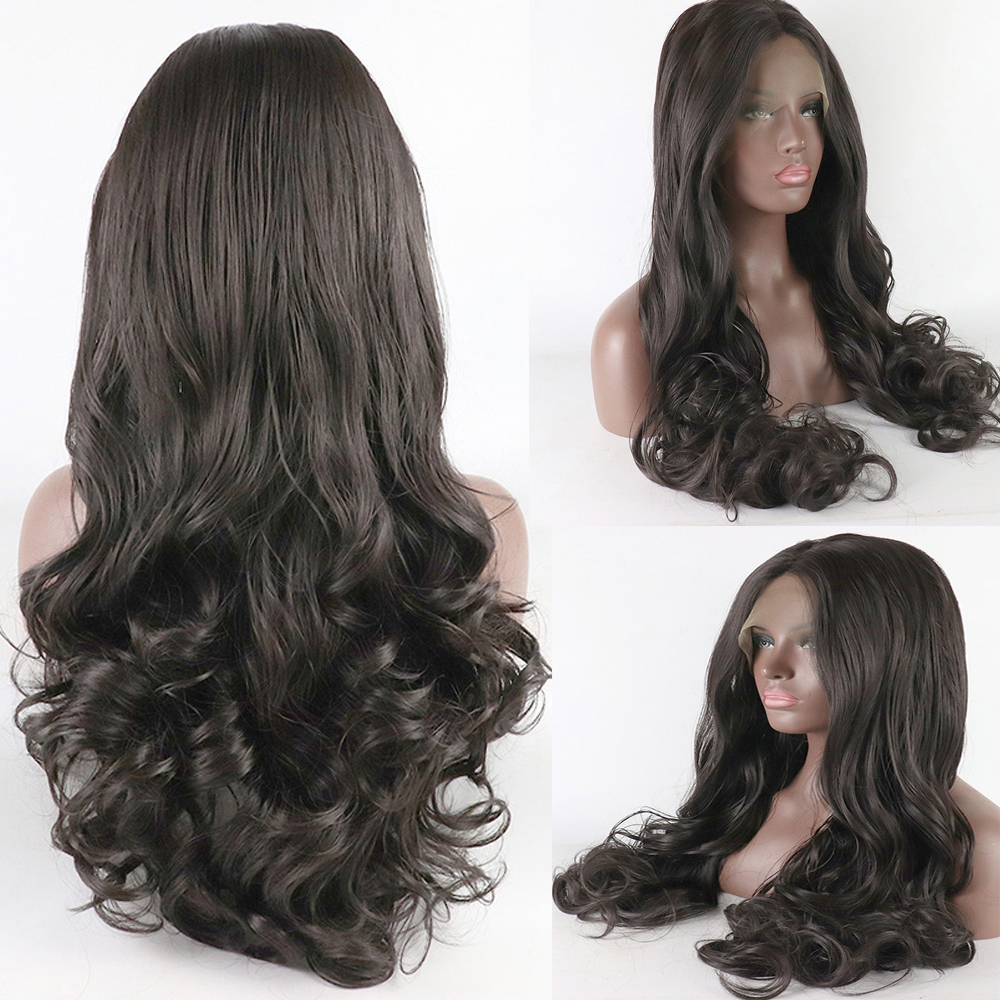 High Temperature Fiber 13*4 Long Body Wave Hair Wigs Synthetic Lace Front Wig Natural Color For Women Side Part Free Ship