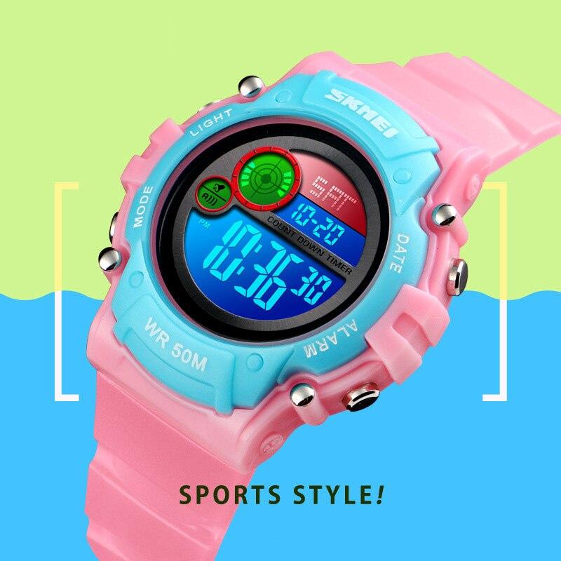 TurnFinger Children% 27s Электроника Часы Цветной Светодиод Ночь Свет Мода Тенденция Роскошь Многофункциональность Спорт Открытый Водонепроницаемый