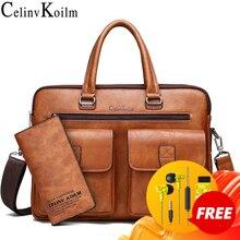 Celinv Koilm גברים עסקי תיק עבור 133 אינץ מחשב נייד תיק שקיות סט תיקי עור באיכות גבוהה משרד שקיות טוטס זכר