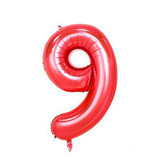 40-Inch Red with Numbers Balloon Decoration Decorative Cross Border for Birthday Party American Style Aluminum Foil with Numbers