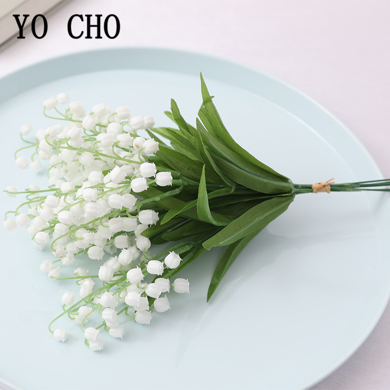 YO CHO Wedding Bouquet Bridesmaids Lily Of The Valley Flower Bouquet 6 Pcs Plastic Convallaria Flower Wedding Home Party Decor