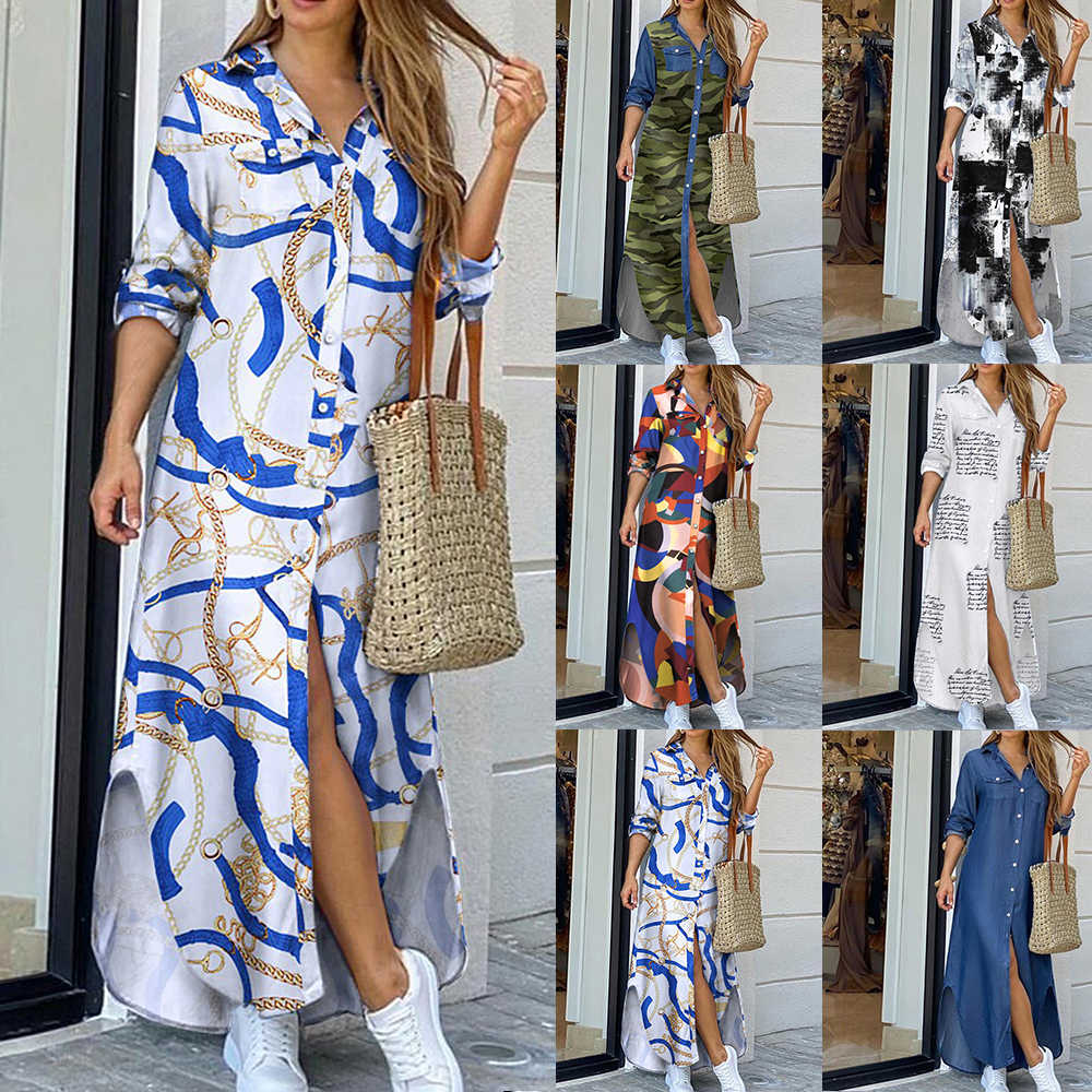 Vrouwen Elegant Button Down Lange Shirt Jurk Zomer Ketting Print Revers Hals Party Dress Casual Lange Mouw Maxi Strand Jurk vestido