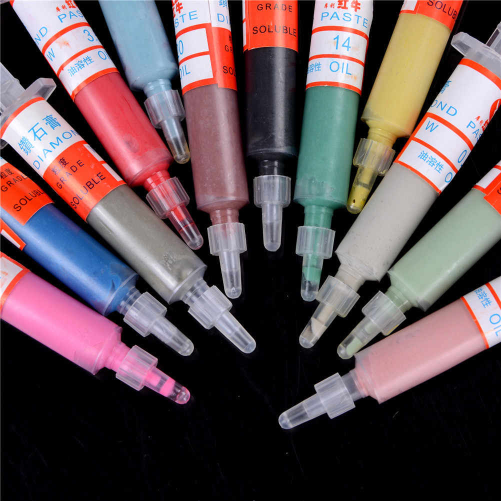 12pcs X10 Gram New Useful Diamond Polishing Lapping Paste Compound Syringes 0.5 To 40 Micron Hot Selling
