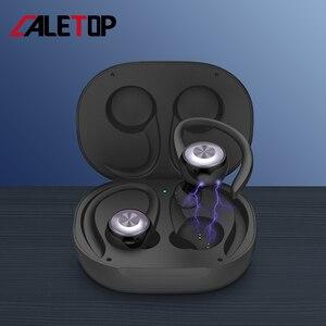 Image 3 - Caletop TWS sport en cours dexécution sans fil écouteurs oreille crochet Bluetooth bruit suppression casque IPX4 étanche casque avec micro