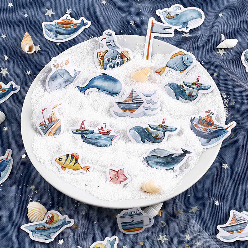 Angelhere Toko 40 Pcs/set Kawaii Whale Panda Stiker Makanan Dekoratif Stiker untuk Diy Album Planner Buku Diary Scrapbooking
