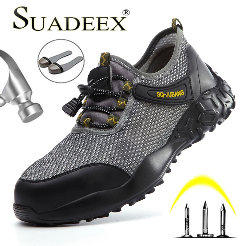 SUADEEX Dropshipping Work Safety Shoes Men Women Anti Smashing Steel Toe Cap Shoes Puncture Proof Work Breathable Safety Boots