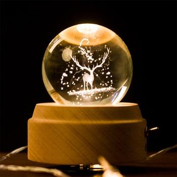 Crystal Fairy Tale Snow Globe Crystal Ball Beech Music Box Valentine Gift Home Decoration Accssories Desktop Decor Crafts