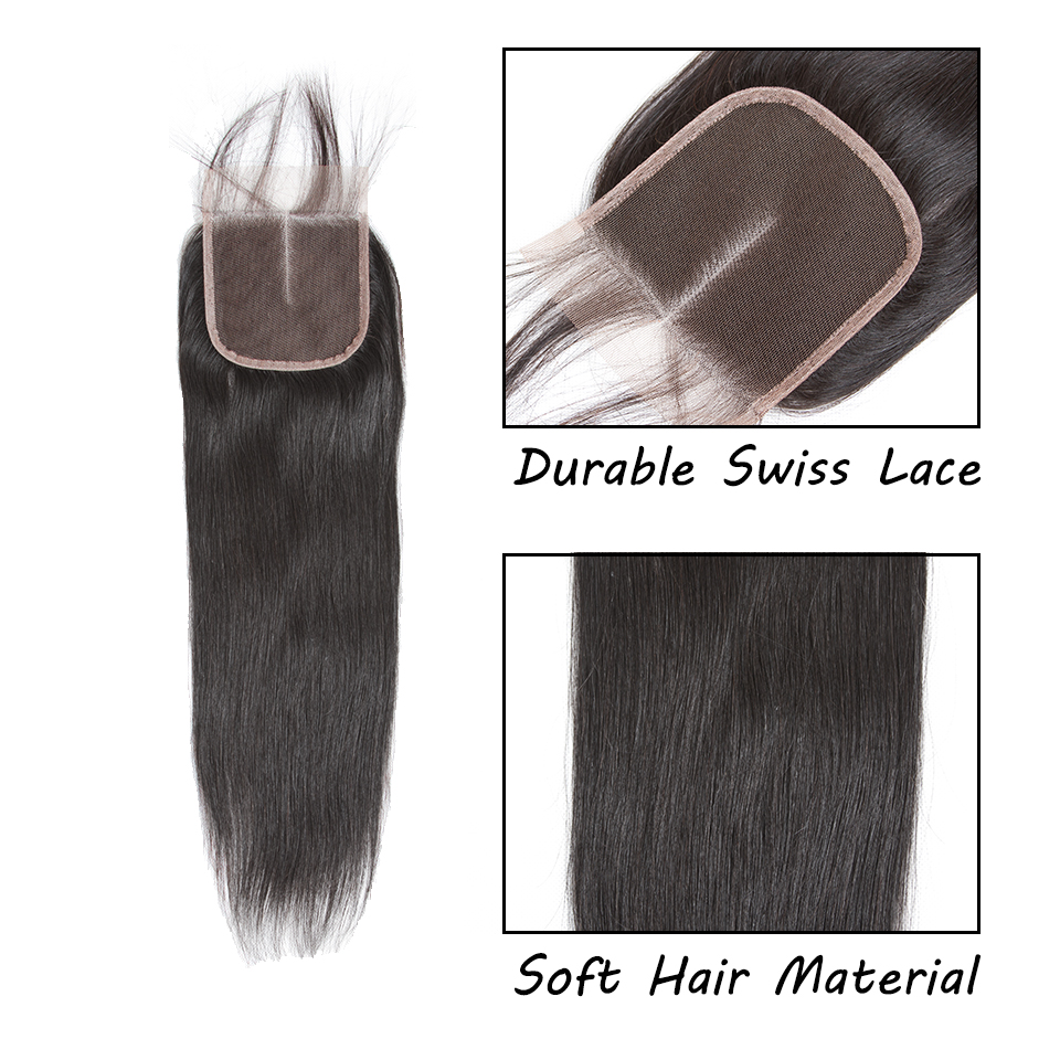 H4c6860226a8347f6bb9fe3ddd68d5625V Queenlike 100% Human Hair Weave Bundles With Closure Non Remy Hair Weft 3 4 Bundles Brazilian Straight Hair Bundles With Closure