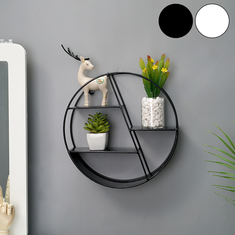 Nordic Style Metal Decorative Shelf Round Hexagon Storage Holder Rack Shelves Home Wall Decoration Potted Ornament Holder Rack