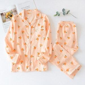 Image 4 - Simple Polka Dot pajamas sets women 100% cotton Spring Japanese Casual women sleepwear long sleeve pyjamas