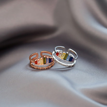2020 New Fashion Fresh Shiny Multicolor Crystal Opening Rings Contracted Fine Double Geometric Adjustable Women Rings Jewelry