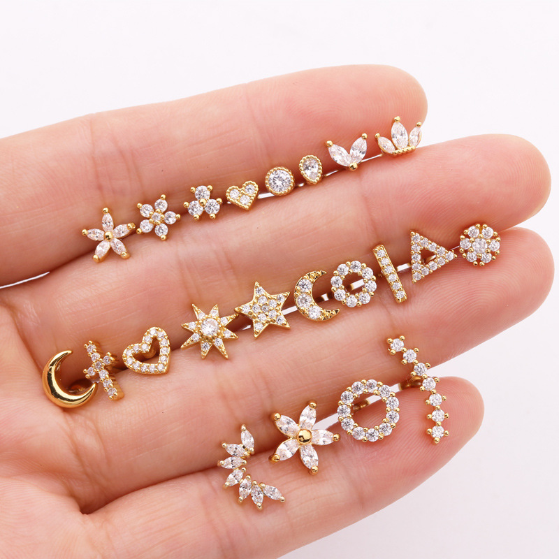 1piece Gold Silver Color Cross Moon Star Flower CZ Tragus Cartilage Stainless Steel Ear Stud Piercing Crystal Daith Earring