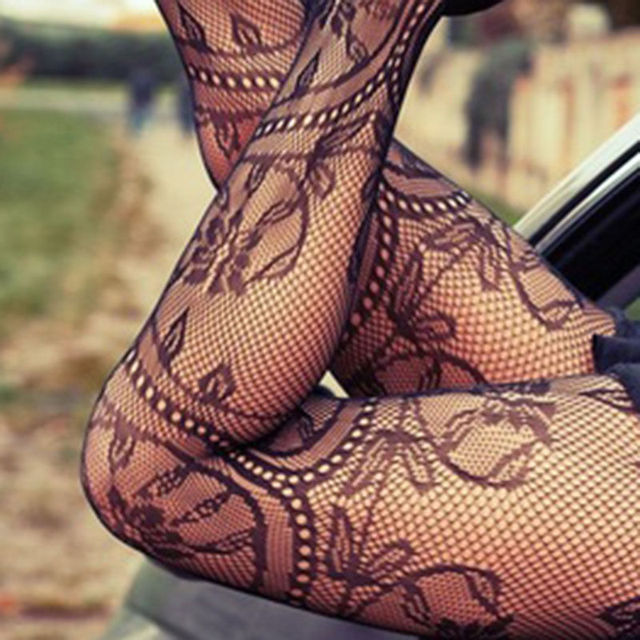New Women Sexy Hot Lace Jacquard Lingerie Thigh High Long Stockings Tights Thin Pantyhose Lace Floral Hosiery 3