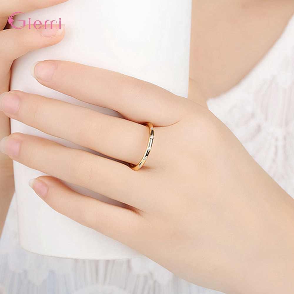 מסיבת חתונה חמוד עגול Shinning AAA מעוקב זירקון 925 כסף סטרלינג טבעות אופנה עיצוב פשוט תכשיטי יום נישואים