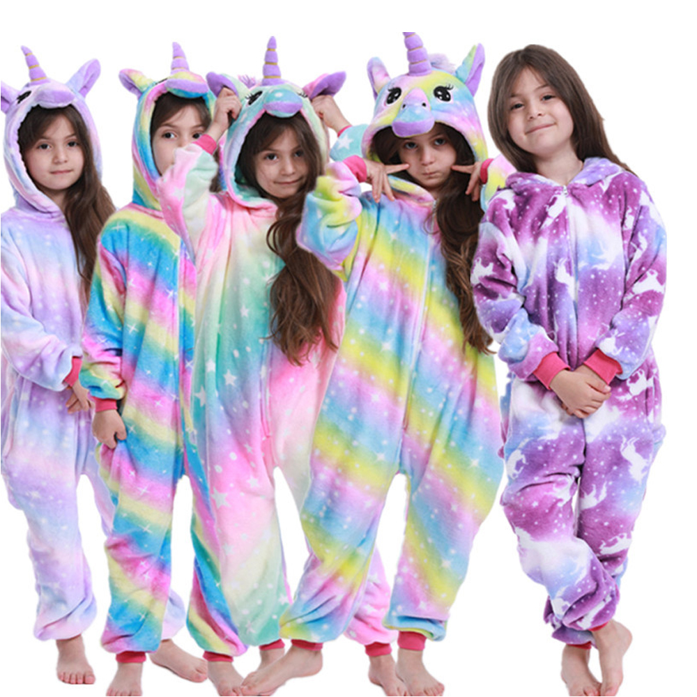 Rainbow Unicorn Girls Pijamas Panda Licorne Unicorn Pijaams Kids Blanket Sleeper Boys Stitch Cartoon Kigurumi Pajamas