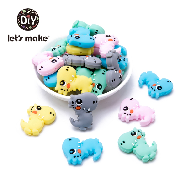 Let's Make 5pcs Silicone Teething Beads Dinosaur Cartoon Shape DIY Pacifier Chains Food Grade Animal Silicone Beads Baby Teether