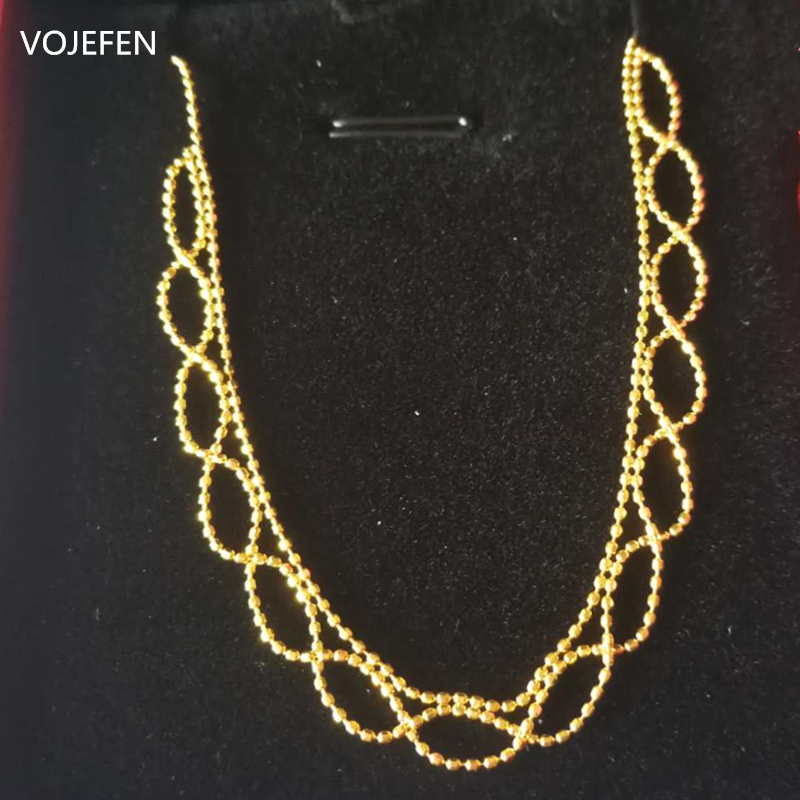 VOJEFEN AU750 Real Gold Necklace Jewelry Retro Handmade Craft Lace Royal Choker Necklace 18k 'Flower Lace' Necklace For Women 3