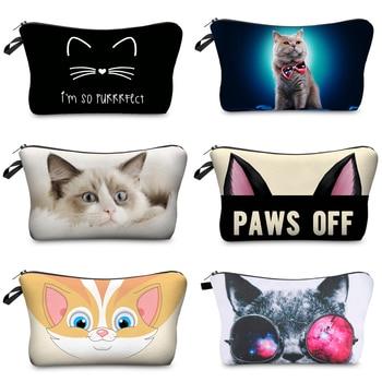 Jom Tokoy  cosmetic organizer bag Pure black Cute cat prints Cosmetic Bag Fashion Women Brand makeup bag 1