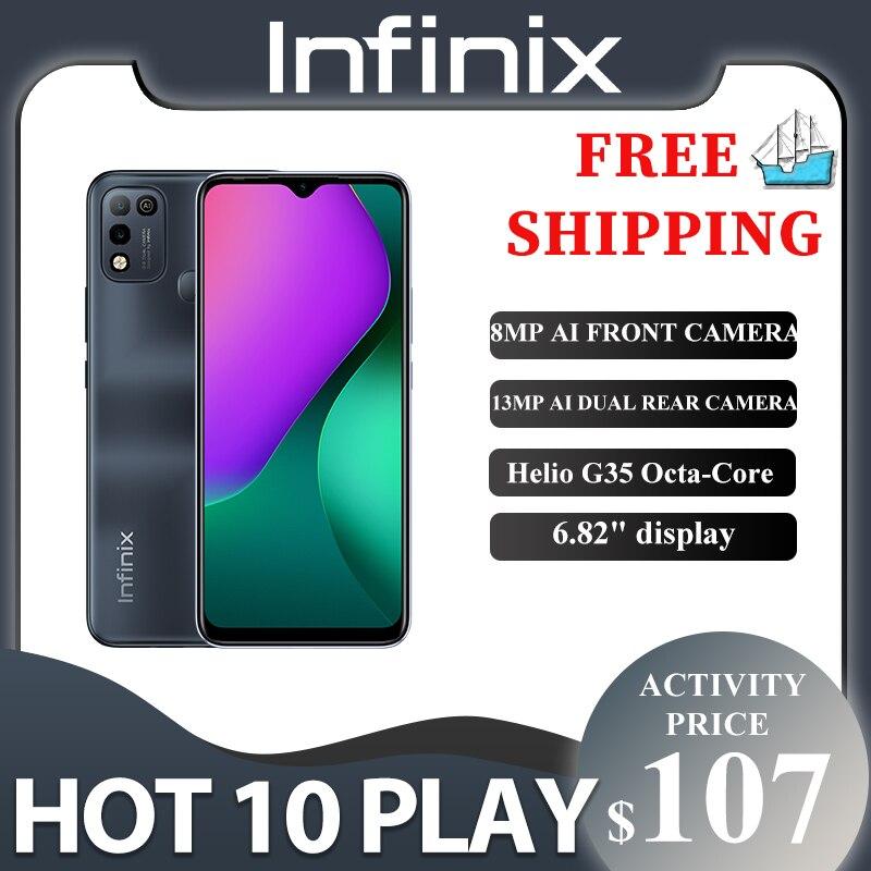 Infinix Горячая 10 PLAY 2 ГБ + 32 ГБ/4 Гб + 64 Гб глобальная версия телефон 6,82 ''HD + Дисплей 6000 мА/ч, Helio G35 мобильный телефон