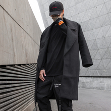 Mens long coat 2019 autumn and winter new casual loose youth personality fashion trend mens clothing