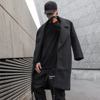Men's long coat 2019 autumn and winter new long coat casual loose long coat youth personality fashion trend men's clothing