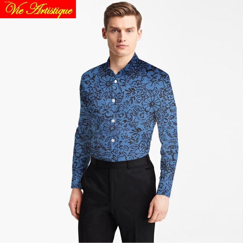 Custom Tailor Made Men's Bespoke Cotton Floral Shirts Business Formal Wedding Ware Blouse Jeans Blue Print Black Flower Fashion