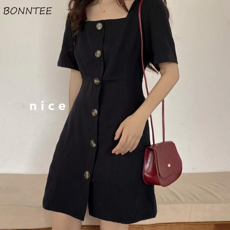 Dress Women Spring Solid Square Collar A-line Slim Simple Mini Dresses Korean Style Short Sleeve Party Sexy Lady Fashion Loose 1