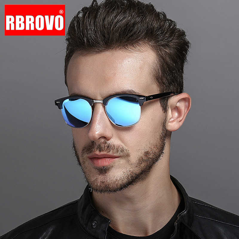 RBROVO 2019 Semi-Rimless Brand Designer Sunglasses Women/Men Polarized UV400 Classic Oculos De Sol Gafas Retro Eyeglasses
