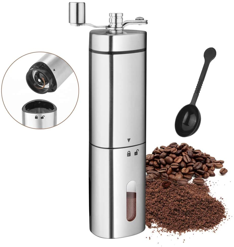 Portable Coffee Grinder Stainless Steel Adjustable Handheld Coffee Grinder Cocoa Bean Conical Burr Mill Manual Coffee Grinder