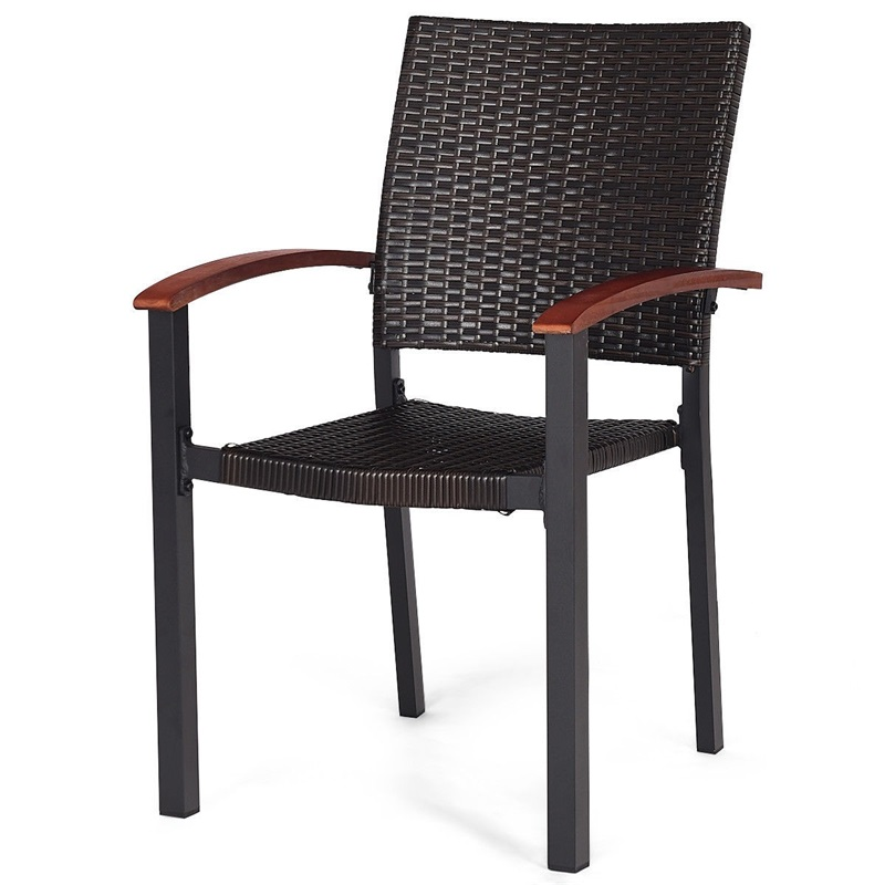 2 Pcs Patio Dining Armchair Stackable Rattan Wicker Chairs Environment-friendly PE Rattan Chairs Aluminum Frame HW59991-2