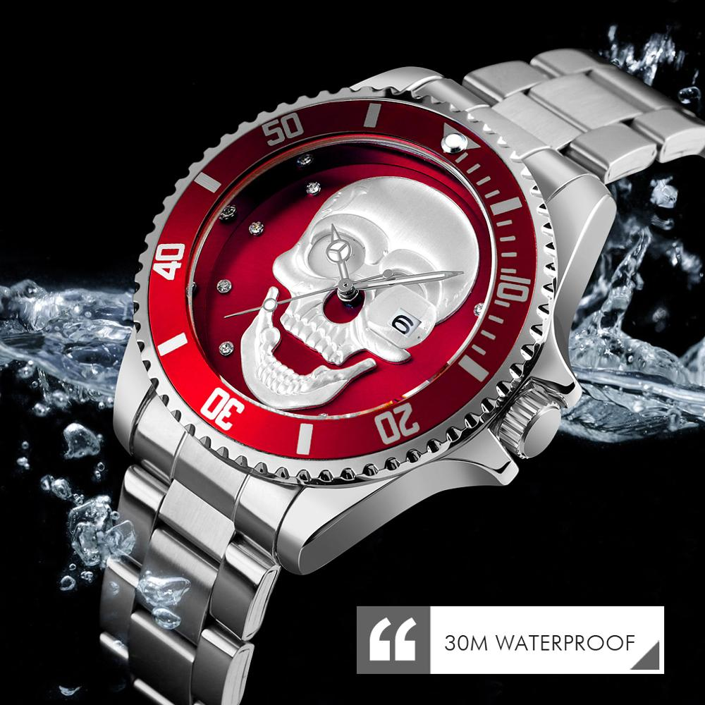 SKMEI Men's Quartz Skull Watch Men Stainless Steel Skeleton Creative Watches Male Clock Waterproof Wristwatch Relogio Masculino
